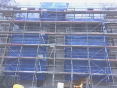 Plettac facade painter scaffolding 204m² working height 10,20m x  20m